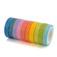 10 PCS Decorative Washi Rainbow Sticky Tape Masking Adhesive Paper Scrapbook DIY