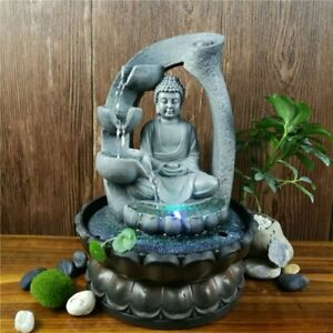 Lotus Buddha Statue Led Fountain Feng Shui Home Office Desktop Decorations Gifts