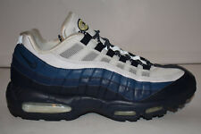 RARE 2009 NIKE AIR MAX 95 WHITE DARK OBSIDIAN MIDNIGHT NAVY BLUE 10.5 609048-166