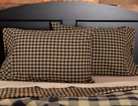 BLACK CHECK Standard Pillow Case Set/2 Black Khaki Primitive Rustic Country VHC