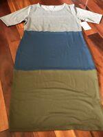 NWT LuLaRoe Julia Sheath Dress L Large - Gray/Blue/Green Solid Colorblock