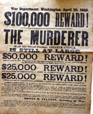 AMERICAN CIVIL WAR Abraham Lincoln Assassin Wanted Poster 1865, UK STOCK