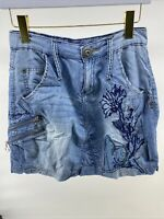 Desigual Women 26 A Line Skirt Blue Mini Pocket Embroidered chambray Sarouel fit