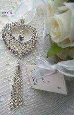 ~*~Silver Heart Tassel Wedding Good Luck Charm~*~Modern Horseshoe~*~