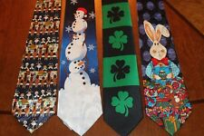 MEN'S LOT'S 4 HOLIDAY NECKTIES Christmas Easter St Patty's Day Thanksgiving 8