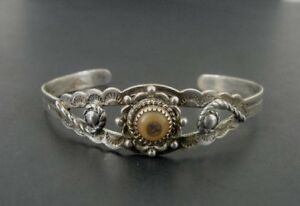 Abalone with Stamped Native Design Sterling Silver 925 Cuff BRACELET