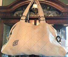 EUC Betsey Johnson Vintage Ivory Leather XL Hobo Handbag Purse Horseshoe FOB