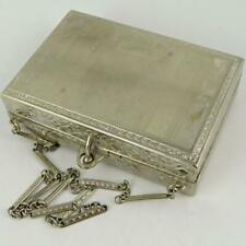 ANTIQUE ENGINE TURNED ENGRAVED WHITE METAL LADIES DANCE PURSE MAKEUP COMPACT