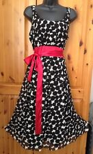 RRP £145 Hobbs Black Vintage Retro Silk Polka Dot Occasion Dress Size 14 BNWT