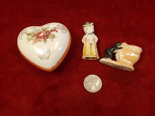 OLD VTG OCCUPIED JAPAN PORCELAIN HEART JEWELRY OR TRINKET BOX, PLUS TWO MORE