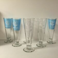 Miller High Life 14 Oz Footed Glass Set of Six (6) Glasses Girl On The Moon NEW