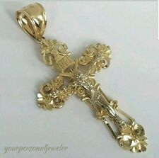 Big INRI Two tone 14k Gold Jesus Crucifix  Cross Pendant 2 inch long