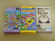 Lot of 3 Kirby Super Deluxe Ball Hello Pacman Boxed Manual sfc snes nes original