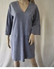 Vince Grey Lamb Leather Suede V Neck Tunic Dress Size L $1095
