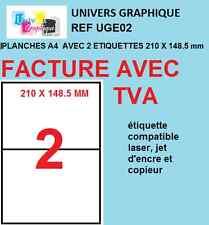 400 Etiquettes autocollantes blanches a5 210 x 148.5mm 200 feuilles a4