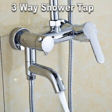 3-Way Chrome Bathroom Shower Faucet Wall Mount Head Bath Hot Cold Mixer Tap