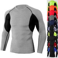New Men's Compression T-Shirt Mock Neck Skin Base layer Workout Top Long Sleeves