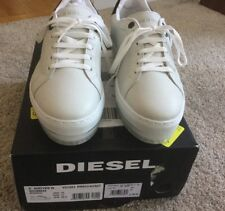 Womens DIESEL S Andyes W Leather Sneakers Shoes White / Black NEW in Box Size 10