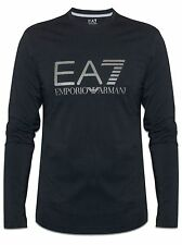 EA7 Black  Long Sleeve T Shirt With Silver Writing Size L
