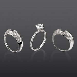 2 CARATS APPRAISED DIAMOND BANDS SET RING ROUND 18K WHITE GOLD ANNIVERSARY