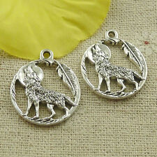 Free Ship 74 pieces tibetan silver round wolf leaves charms 25x21mm L-4847