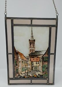 """Antique Leaded Stained Glass Street Scape Window Hanging 7 1/2"""" X 10"""""""