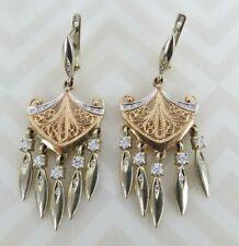Russian 9.6 g 585 14k Gold .82cwt  Diamond chandelier 48 mm dangle earrings