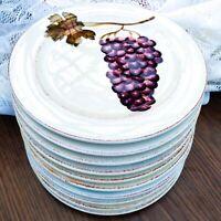"10 pcs Tabletops Unlimited Villa Grande Dessert or Pie Plates Purple Grapes 8.5"""