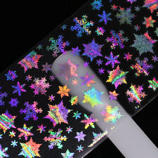 12 Pcs Holographic Nail Art Foil Laser Christmas Rose Music Transfer Stickers