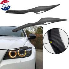 Carbon Fiber Headlight Eyelid Cover Eyebrow Trim Decal For BMW 3 Series E90 E91