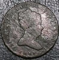 Spain 1842 8 Maravedis Aqueduct Mint Reyna Isabel II Republic Copper Coin