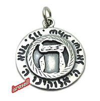 Shema Yisrael and Protection Pendant - Jewish Blessing - 925 Sterling Silver