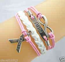 Infinity/Love/Breast Cancer Awareness Sign Leather Braided Bracelet Pink/White