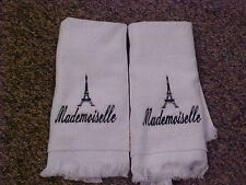 Embroidered Eiffel Tower w/ mademoiselle towels - White/Black