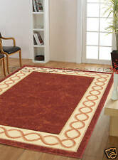 NEW EXTRA X LARGE BEIGE DARK RED GREEK KEY CARVED MODERN DISCOUNT RUG 200x285