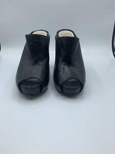 Vince Camuto Anabi Womens Black Leather Open Toe Mule Heels Size 6.5