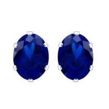 5X3mm 14K White Gold Rhodium Plated Basket Oval Sapphire Solitaire Stud Earrings