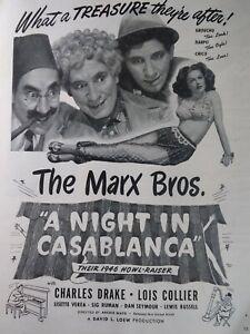 Hollywood Original Ad  Rare VHTF Early 1900s Marx Brothers Night In Casablanca