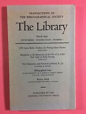 THE LIBRARY, The Bibliographical Society, Fifth Series Vol.XXXII No.1 March 1977