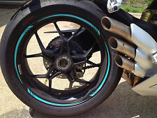 TURQUOISE TEAL MOTORCYCLE CAR RIM STRIPES WHEEL TAPE DECAL STICKERS VINYL KIT