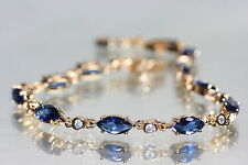 18K Rose Gold gf Marquise Created Sapphire Bracelet  6.69 - 7.67 inches
