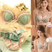 Lady Sexy Lingerie Luxury Lace Flower Embroider Bra Set Knickers Push Up V-Neck