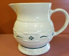 Longaberger Pottery Heritage Green Woven Traditions Usa 2 Quart Pitcher
