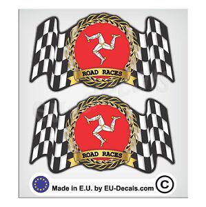 "2X 92mm-3.63"" Isle of Man Road Race Laminated Decal Sticker High Quality custom"