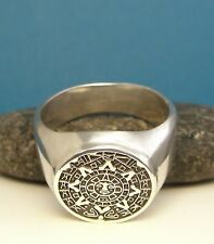 TRIBAL 925 Sterling Silver RING Mens Man Aztec Sun MAYAN Signet S MEXICO US New