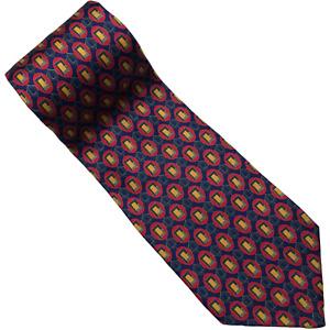 "Tom James Mens Necktie Silk Hand Made Peak Tie Red Blue Yellow Geometric 56"""