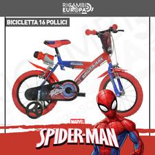 """BICI BICICLETTA SPIDERMAN 16"""" DINO BIKES PRODOTTO ITALIANO ROSSA CARTONI ANIMATI"""
