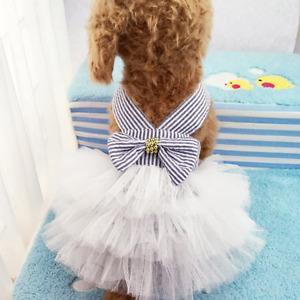 Dog Dresses, Fashion Pet Dog Clothes, Striped Mesh Puppy Dog Princess Dresses