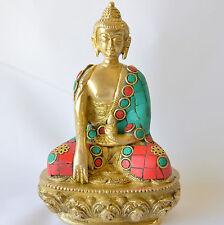 """Buddha Statue studded turquoise corals Bhumispara Mudra Aksobhya brass 5.5"""""""