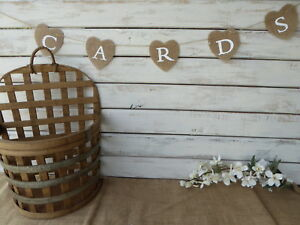 Rustic Burlap Heart CARDS Sign Banner for your Box / Suitcase ~ Wedding Birthday